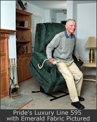 A man reclines in an electric lift chair