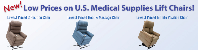 USMS Lift Chairs - Lowest priced 2 postion, Lowest priced 3 Position, and Infinite Position Lift Chairs